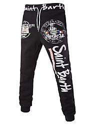 Pantalon de Sport Pour des hommes Lettre Décontracté / Sport Coton Noir / Gris