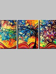 E-HOME® Stretched Canvas Art Colorful Tree Decorative Painting Set of 3