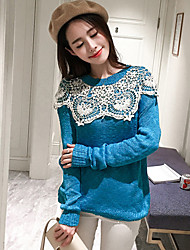 Normal Pullover Femme Sortie Mignon,Mosaïque Bleu Col Arrondi Manches Longues Coton Acrylique Automne Epais Elastique