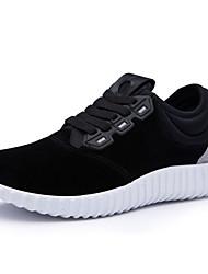 Femme-Décontracté-Noir / Bleu-Talon Plat-Styles / Bout Arrondi-Sneakers-Daim / Polyuréthane