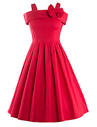 Women's Bow Casual/Daily / Party / Club Vintage / Street chic A Line Dress,Solid Strap Knee-length Sleeveless