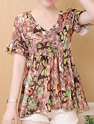 Women's Plus Size / Going out /Daily Vintage Summer Blouse,Floral V Neck Short Sleeve Blue / Red / Beige Polyester Thin