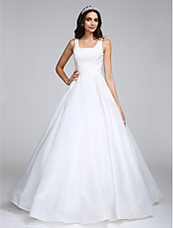 LAN TING BRIDE A-line Wedding Dress Simply Sublime Floor-length Square Organza with Appliques