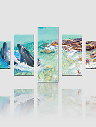 JAMMORY Canvas Set Landscape Modern,Five Panels Gallery Wrapped, Ready To Hang Vertical Print No Frame Sea