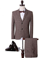 Suits Tailored Fit Notch Single Breasted Two-buttons Polyester Stripes 3 Pieces Coffee Patch Pocket Black
