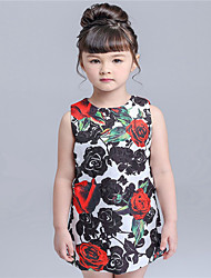 KIMOCAT  Girl's Casual/Daily Floral Dress,Cotton Summer Red