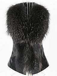Damen Patchwork Street Schick Lässig/Alltäglich Blazer,V-Ausschnitt Winter Ärmellos Schwarz / Gelb Polyester Mittel