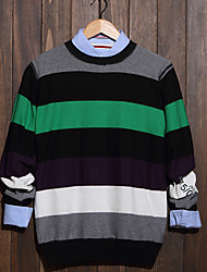 Men's Striped Casual Pullover,Cotton Long Sleeve Black / Green