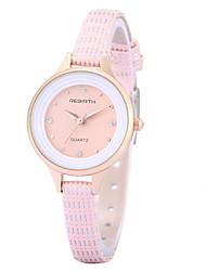 REBIRTH® Women's Simple Fashion Imitation Diamond Slim PU Leather Strap Quartz Wrist Watch