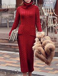 Long Cardigan Femme Décontracté / Quotidien simple,Couleur Pleine Rouge Col Roulé Manches Longues Coton Automne / Hiver Moyen