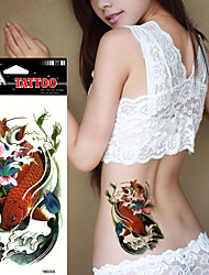 5Pcs Waterproof Color Lotus Gold Carp Pattern Flower Arm Temporary Tattoo Stickers