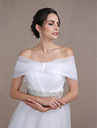 Women's Wrap Capelets Sleeveless Organza Ivory Wedding / Party/Evening Bateau Button Clasp