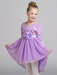 Ball Gown Asymmetrical Flower Girl Dress - Cotton / Tulle Long Sleeve Jewel with Flower(s) / Sash / Ribbon