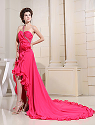 Formal Evening Dress Sheath / Column One Shoulder Cathedral Train Chiffon with Beading