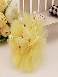 Korean Flower Girl's Fabric Flowers Tiaras Hair Clip