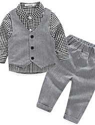 Boy's Casual/Daily Plaid Suit & Blazer / Clothing SetCotton Spring / Fall Gray