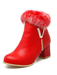 Women's Boots Fall / Winter Fashion Boots Leatherette Dress Chunky Heel Fur / Zipper Black / Red / White Walking