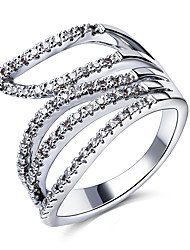 Woman Hollow Wedding Rings Sparkling AAA Grade Cubic Zircon High Quality Platinum Plated Lead Free