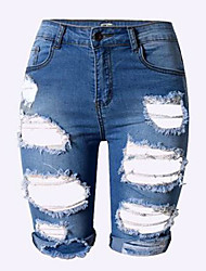 Women's Solid Blue / White Jeans / Shorts Pants,Sexy