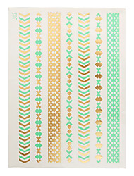 1pc Gold Green Temporary Metallic Tattoo Jewel Inspired Fashion Necklace Bracelet J02