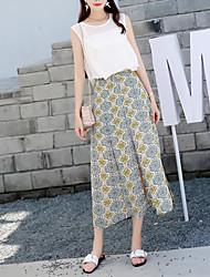 Women's Print Red / Yellow Skirts,Boho Midi