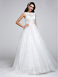 LAN TING BRIDE A-line Wedding Dress See-Through Court Train Bateau Lace Tulle with Lace
