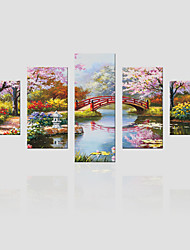 JAMMORY Canvas Set Landscape ,Five Panels Gallery Wrapped, Ready To Hang Vertical Print No Frame Landscape Painting