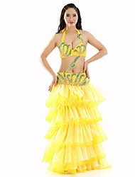 Belly Dance Outfits Women's Performance Polyester Tiers 3 Pieces  Belly Dance Sleeveless DroppedTop / Belt