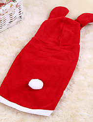 Dog Costume / Hoodie Red Dog Clothes Winter Solid Cute / Christmas