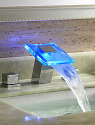Art Deco/Retro / Modern Widespread LED / Widespread with  Ceramic Valve Two Handles Three Holes for  Chrome  Bathtub