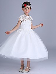 Ball Gown Knee-length Flower Girl Dress - Chiffon / Cotton Short Sleeve Halter with Appliques