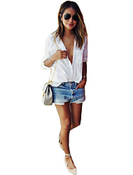 Women's Casual/Daily Simple Summer Shirt,Solid Shirt Collar Long Sleeve White Cotton Opaque