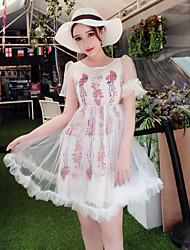 Women's Going out Cute A Line Dress,Print Round Neck Above Knee Short Sleeve White Rayon Summer
