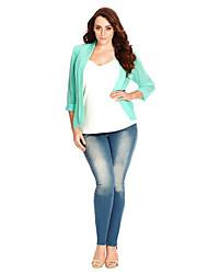 Damen Solide Street Schick Lässig/Alltäglich Jacke,Gekerbtes Revers Frühling / Sommer ¾-Arm Blau Polyester Dünn