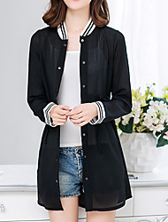 Women's Going out / Casual/Daily Simple Summer Jackets,Solid Stand Long Sleeve White / Black Polyester Thin
