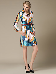 Women's Going out Street chic Trench Coat,Color Block Square Neck Long Sleeve Fall / Winter Multi-color Polyester Medium