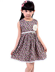 Girl's Casual/Daily Floral Dress,Cotton Summer Red