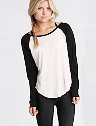 Tee-shirt Aux femmes,Couleur Pleine Décontracté / Quotidien Chic de Rue Automne / Hiver Manches Longues Col Arrondi Blanc Coton / Rayonne