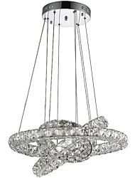 LED Ring Crystal Pendant Lights Chandeliers Hanging Lamps Fixtures with 3 Round Ring 40W LED Source CE FCC ROHS