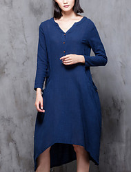 Women's Casual/Daily Street chic Loose Thin Dress,Solid V Neck Asymmetrical Long Sleeve Blue / Red Cotton / Linen Fall