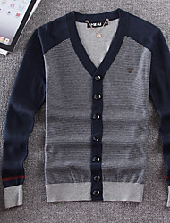 Men's Color Block Casual Cardigan,Cotton Long Sleeve Blue / Gray
