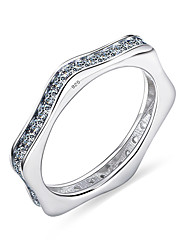 Elegant Cubic Zircon Ring Fashion Women Luxury Gift 925 Solid Sterling Silver Wedding Jewelry Brand New