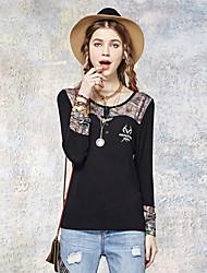 Tee-shirt Aux femmes,Imprimé Sortie simple Eté Manches Longues Col Arrondi Noir Rayonne / Spandex Fin