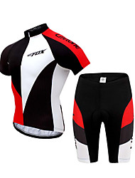 BATFOX® Camisa com Shorts para Ciclismo Homens Manga Curta Moto Respirável / Secagem Rápida / Anti-Irradiação / Fecho YKKbraço