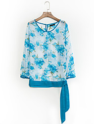 Women's Casual/Daily Sexy Summer Blouse,Floral Round Neck Long Sleeve Blue / Red Polyester Opaque