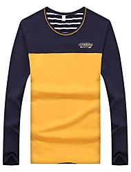 Herren T-shirt-Einfarbig Freizeit / Sport Baumwolle Lang-Blau / Mehrfarbig / Orange / Weiß / Grau