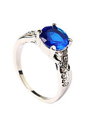 Woman's Simple Zircon Sapphire Noble Ring Party / Daily / Casual 1pc Statement Rings
