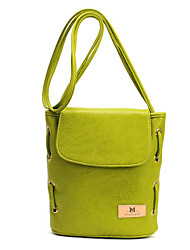 Women PU Casual Outdoor Shopping Bucket Bags Vintage Style Patch Pure Color Shoulder Bag