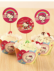 Birthday Party Tableware-12Piece/Set Cake Accessories Tag Hard Card Paper Rustic Theme Other Non-personalised