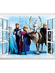 3D Cartoon Movie Frozen Elsa Family 3D Wall Stickers False Window Design Fashion Children's Bedroom Wall Decals